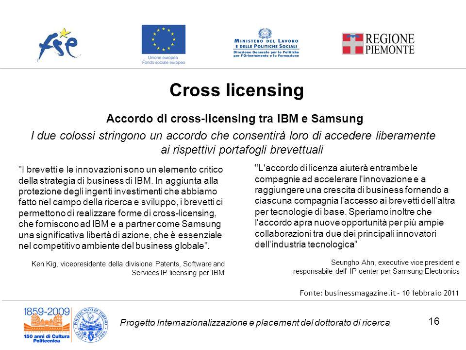 Progetto Internazionalizzazione e placement del dottorato di ricerca Accordo di cross-licensing tra IBM e Samsung I due colossi stringono un accordo c