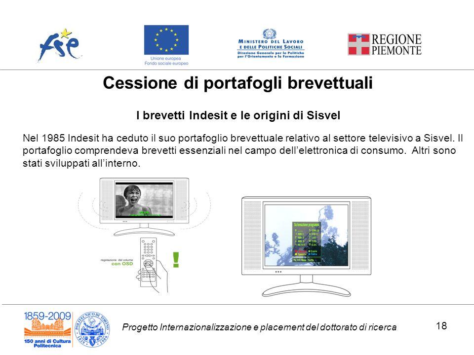 Progetto Internazionalizzazione e placement del dottorato di ricerca I brevetti Indesit e le origini di Sisvel Cessione di portafogli brevettuali Nel