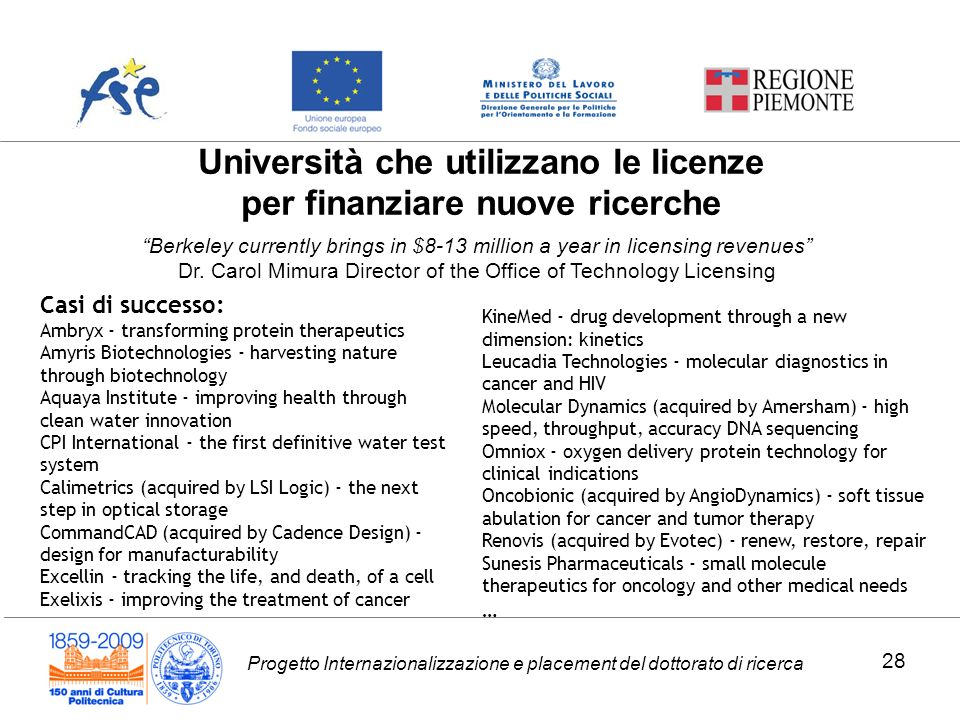 Progetto Internazionalizzazione e placement del dottorato di ricerca Università che utilizzano le licenze per finanziare nuove ricerche Casi di successo: Ambryx - transforming protein therapeutics Amyris Biotechnologies - harvesting nature through biotechnology Aquaya Institute - improving health through clean water innovation CPI International - the first definitive water test system Calimetrics (acquired by LSI Logic) - the next step in optical storage CommandCAD (acquired by Cadence Design) - design for manufacturability Excellin - tracking the life, and death, of a cell Exelixis - improving the treatment of cancer KineMed - drug development through a new dimension: kinetics Leucadia Technologies - molecular diagnostics in cancer and HIV Molecular Dynamics (acquired by Amersham) - high speed, throughput, accuracy DNA sequencing Omniox - oxygen delivery protein technology for clinical indications Oncobionic (acquired by AngioDynamics) - soft tissue abulation for cancer and tumor therapy Renovis (acquired by Evotec) - renew, restore, repair Sunesis Pharmaceuticals - small molecule therapeutics for oncology and other medical needs … Berkeley currently brings in $8-13 million a year in licensing revenues Dr.