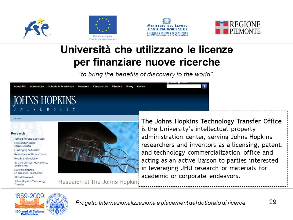 Progetto Internazionalizzazione e placement del dottorato di ricerca Università che utilizzano le licenze per finanziare nuove ricerche The Johns Hopkins Technology Transfer Office is the Universitys intellectual property administration center, serving Johns Hopkins researchers and inventors as a licensing, patent, and technology commercialization office and acting as an active liaison to parties interested in leveraging JHU research or materials for academic or corporate endeavors.