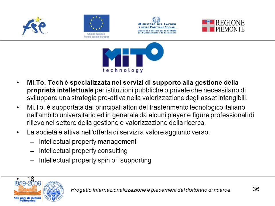 Progetto Internazionalizzazione e placement del dottorato di ricerca Mi.To. Tech è specializzata nei servizi di supporto alla gestione della proprietà