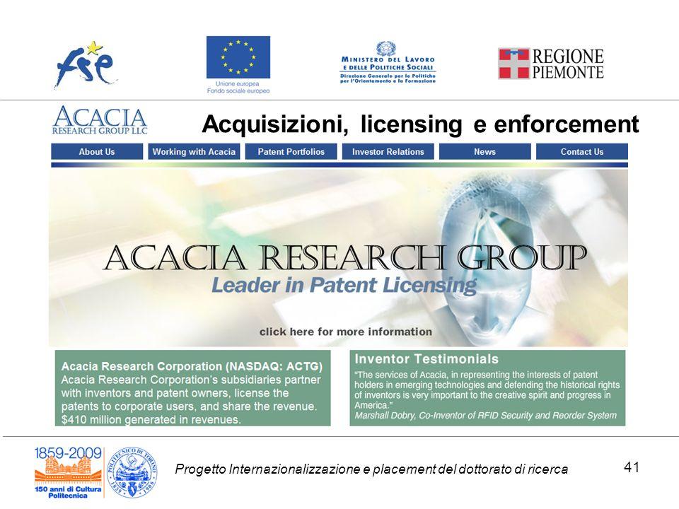 Progetto Internazionalizzazione e placement del dottorato di ricerca Acquisizioni, licensing e enforcement 41