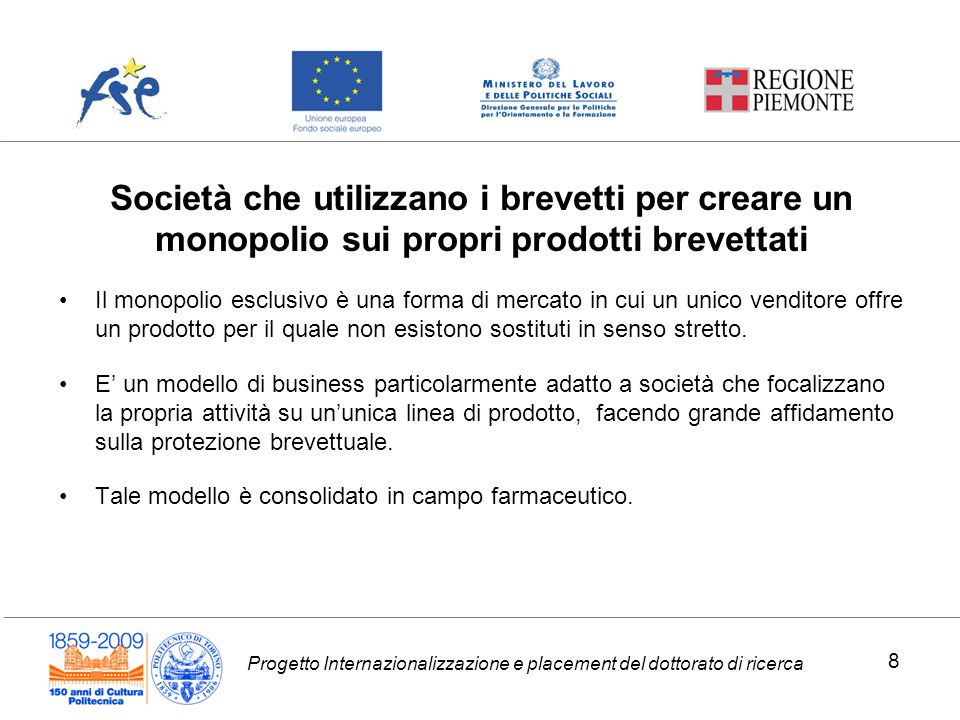 Progetto Internazionalizzazione e placement del dottorato di ricerca Aste brevettuali 39
