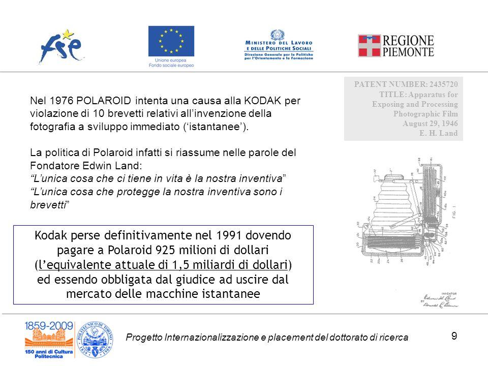 Progetto Internazionalizzazione e placement del dottorato di ricerca PATENT NUMBER: 2435720 TITLE: Apparatus for Exposing and Processing Photographic