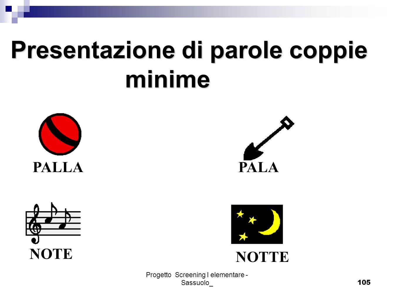 Progetto Screening I elementare - Sassuolo_105 Presentazione di parole coppie minime minime PALLA PALANOTE NOTTE