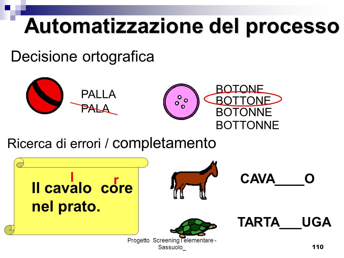 Progetto Screening I elementare - Sassuolo_110 PALLA PALA Decisione ortografica BOTONE BOTTONE BOTONNE BOTTONNE Il cavalo core nel prato. l r Automati