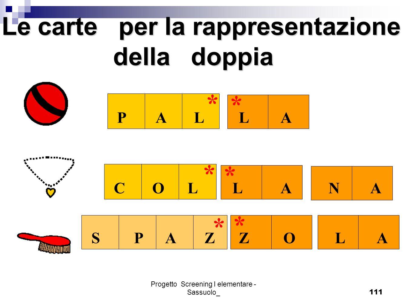 Progetto Screening I elementare - Sassuolo_111 * * * * * * PALLA COLLANA SPAZZOLA Le carte per la rappresentazione della doppia della doppia