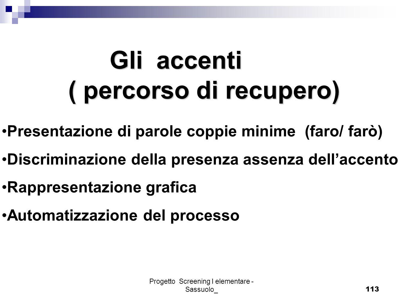 Progetto Screening I elementare - Sassuolo_113 Gli accenti Gli accenti ( percorso di recupero) ( percorso di recupero) Presentazione di parole coppie