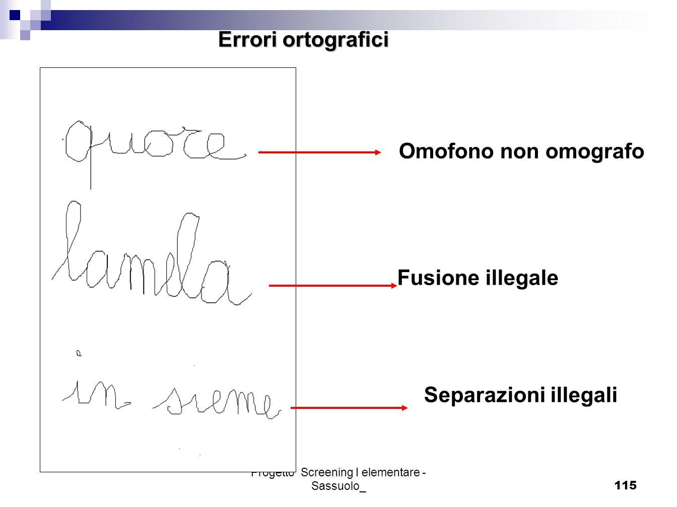 Progetto Screening I elementare - Sassuolo_115 Omofono non omografo Errori ortografici Fusione illegale Separazioni illegali