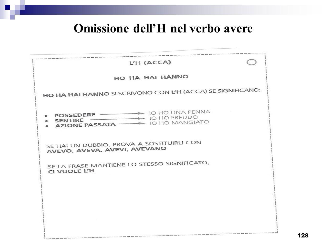 Progetto Screening I elementare - Sassuolo_128 Omissione dellH nel verbo avere
