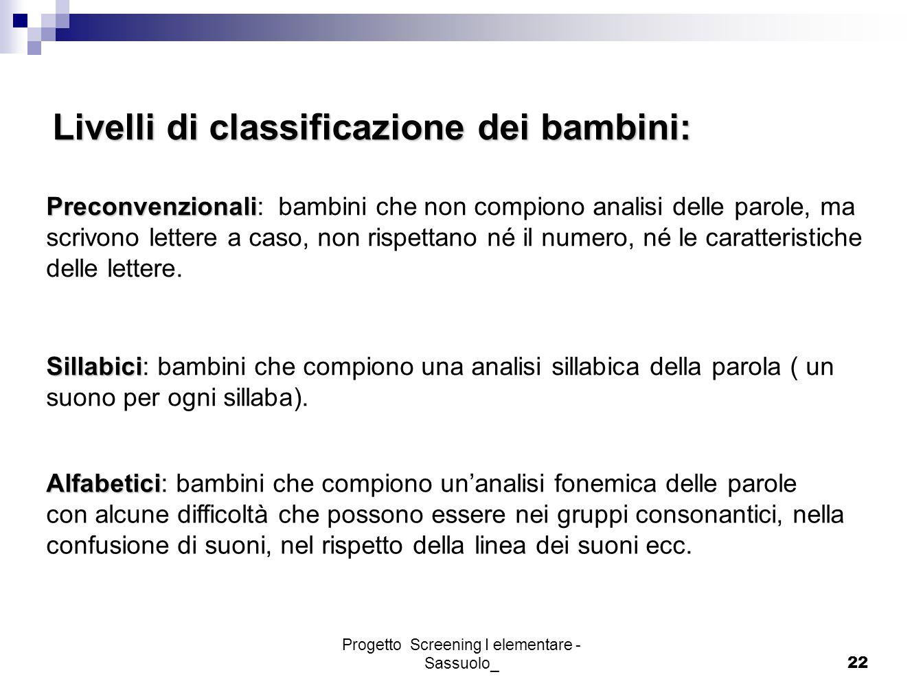 Progetto Screening I elementare - Sassuolo_22 Livelli di classificazione dei bambini: Preconvenzionali Preconvenzionali: bambini che non compiono anal