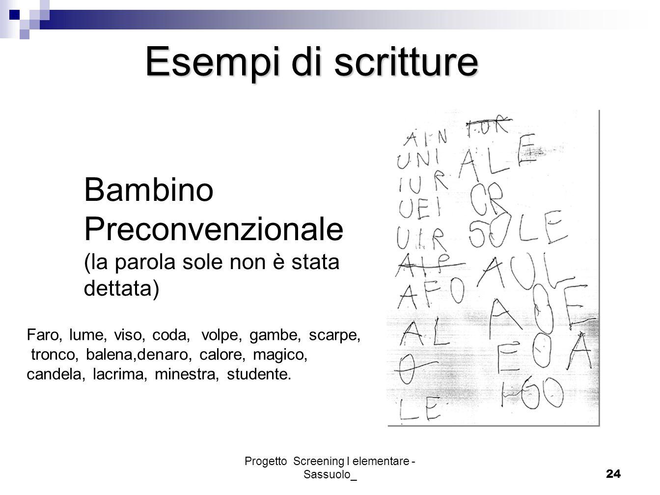 Progetto Screening I elementare - Sassuolo_24 Bambino Preconvenzionale (la parola sole non è stata dettata) Esempi di scritture Faro, lume, viso, coda