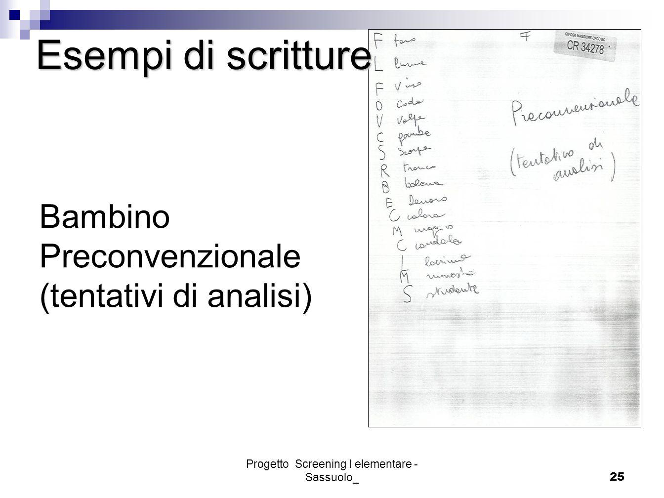 Progetto Screening I elementare - Sassuolo_25 Esempi di scritture Bambino Preconvenzionale (tentativi di analisi)