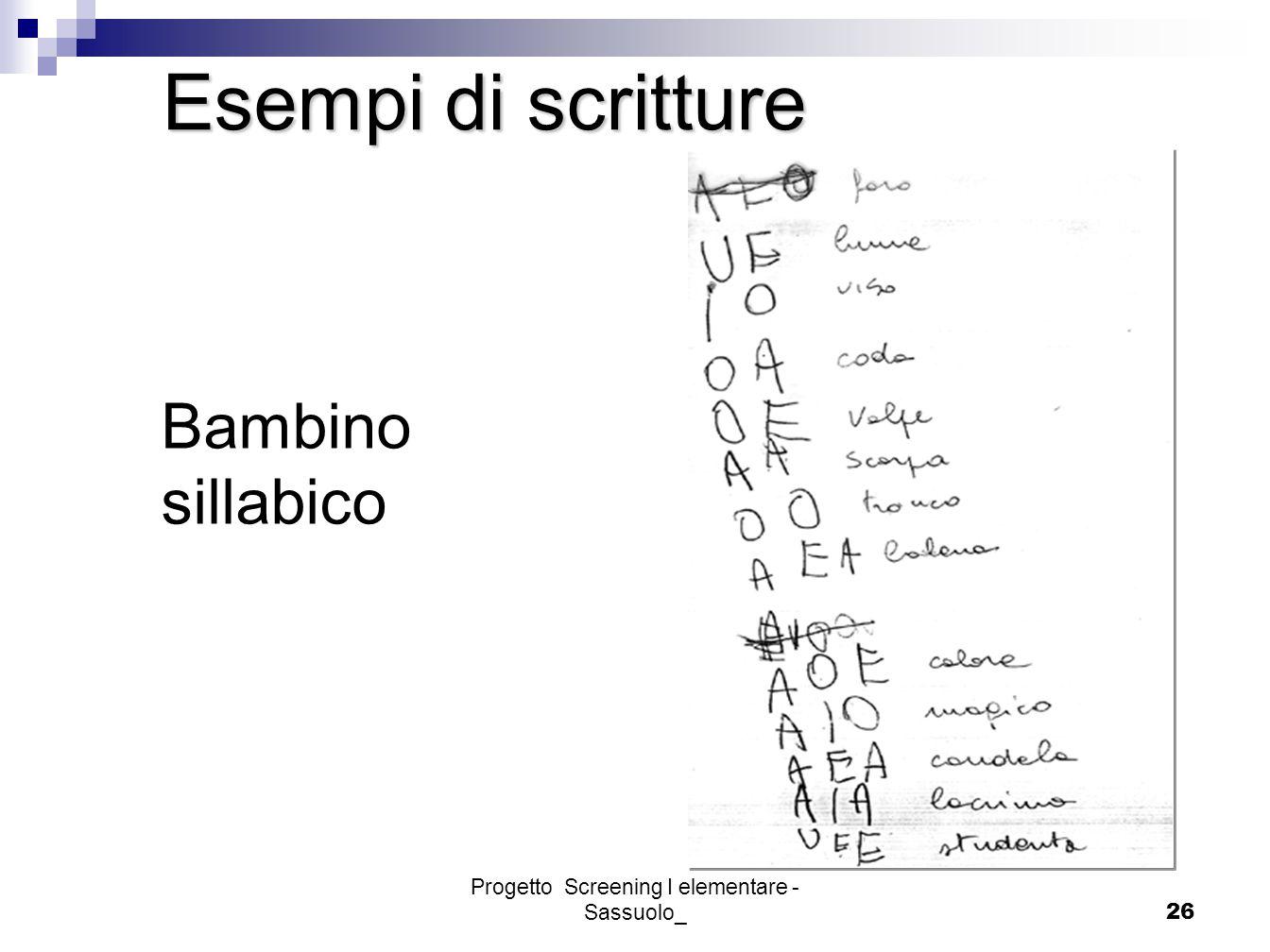 Progetto Screening I elementare - Sassuolo_26 Bambino sillabico Esempi di scritture
