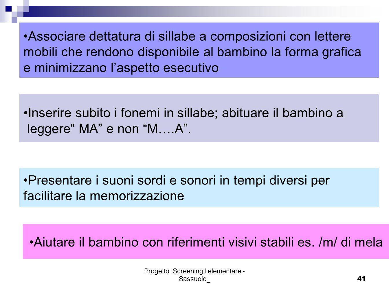 Progetto Screening I elementare - Sassuolo_41 Associare dettatura di sillabe a composizioni con lettere mobili che rendono disponibile al bambino la f