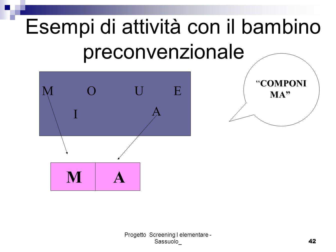 Progetto Screening I elementare - Sassuolo_42 Esempi di attività con il bambino preconvenzionale MOUE I A COMPONICOMPONI MA MA MA