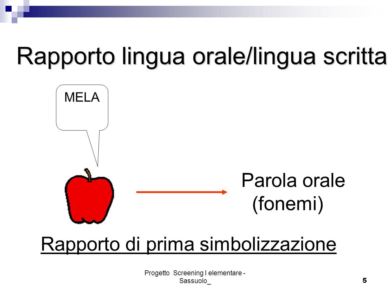 Progetto Screening I elementare - Sassuolo_5 Rapporto di prima simbolizzazione Parola orale (fonemi) MELA Rapporto lingua orale/lingua scritta