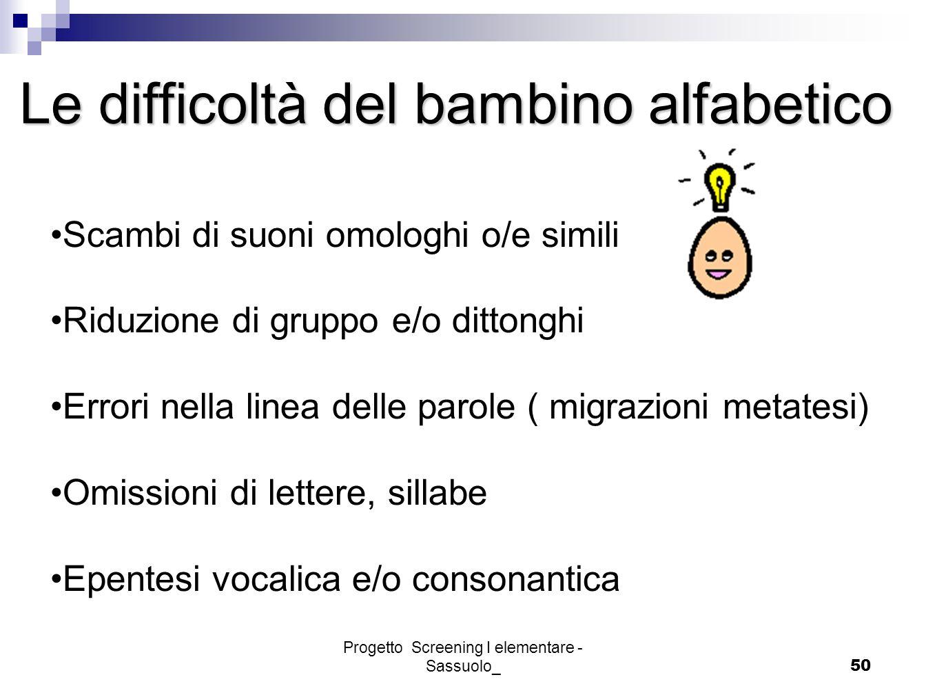 Progetto Screening I elementare - Sassuolo_50 Le difficoltà del bambino alfabetico Scambi di suoni omologhi o/e simili Riduzione di gruppo e/o dittong
