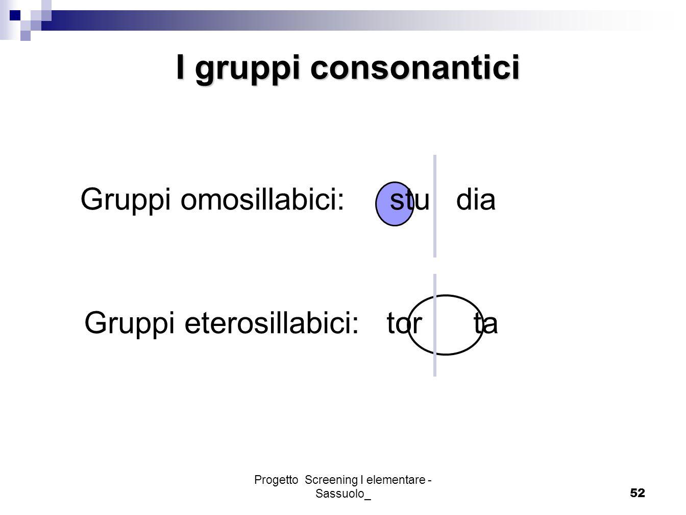 Progetto Screening I elementare - Sassuolo_52 I gruppi consonantici Gruppi omosillabici: stu dia Gruppi eterosillabici: tor ta