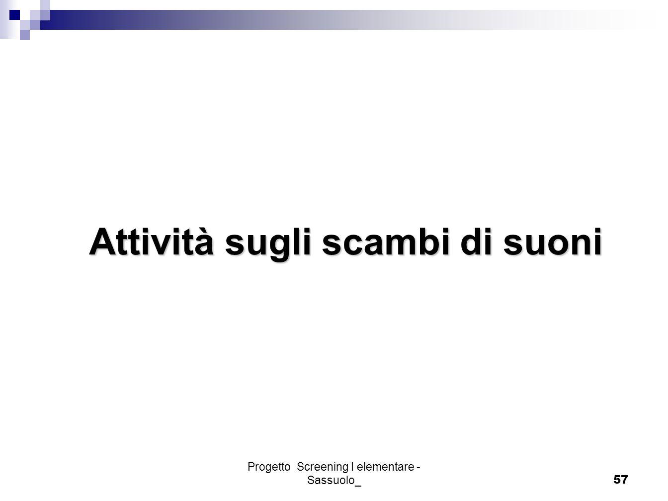 Progetto Screening I elementare - Sassuolo_57 Attività sugli scambi di suoni