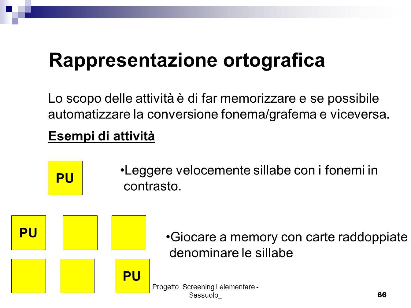 Progetto Screening I elementare - Sassuolo_66 Rappresentazione ortografica Lo scopo delle attività è di far memorizzare e se possibile automatizzare l