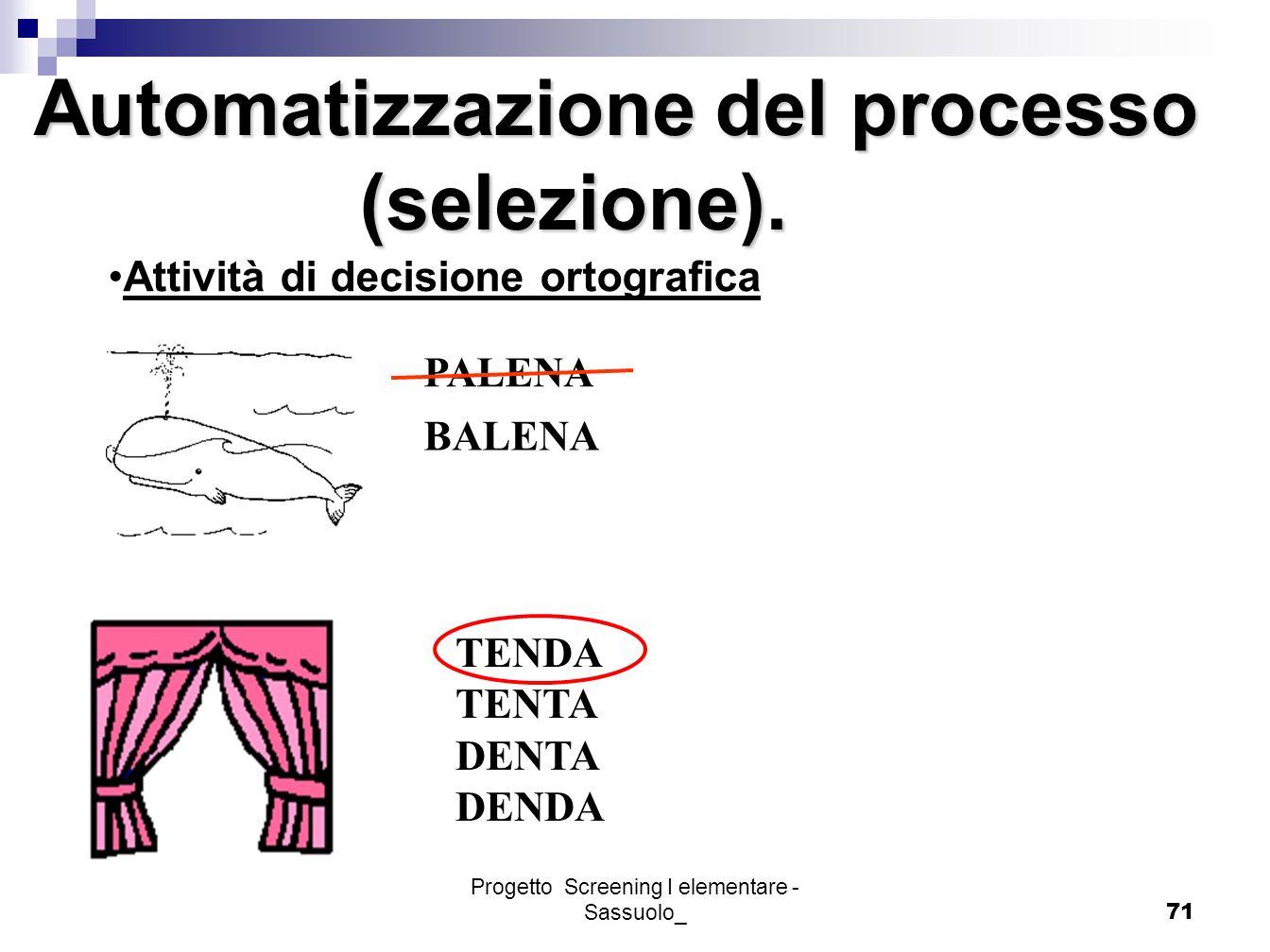 Progetto Screening I elementare - Sassuolo_71 Automatizzazione del processo (selezione). (selezione). PALENA BALENA Attività di decisione ortografica