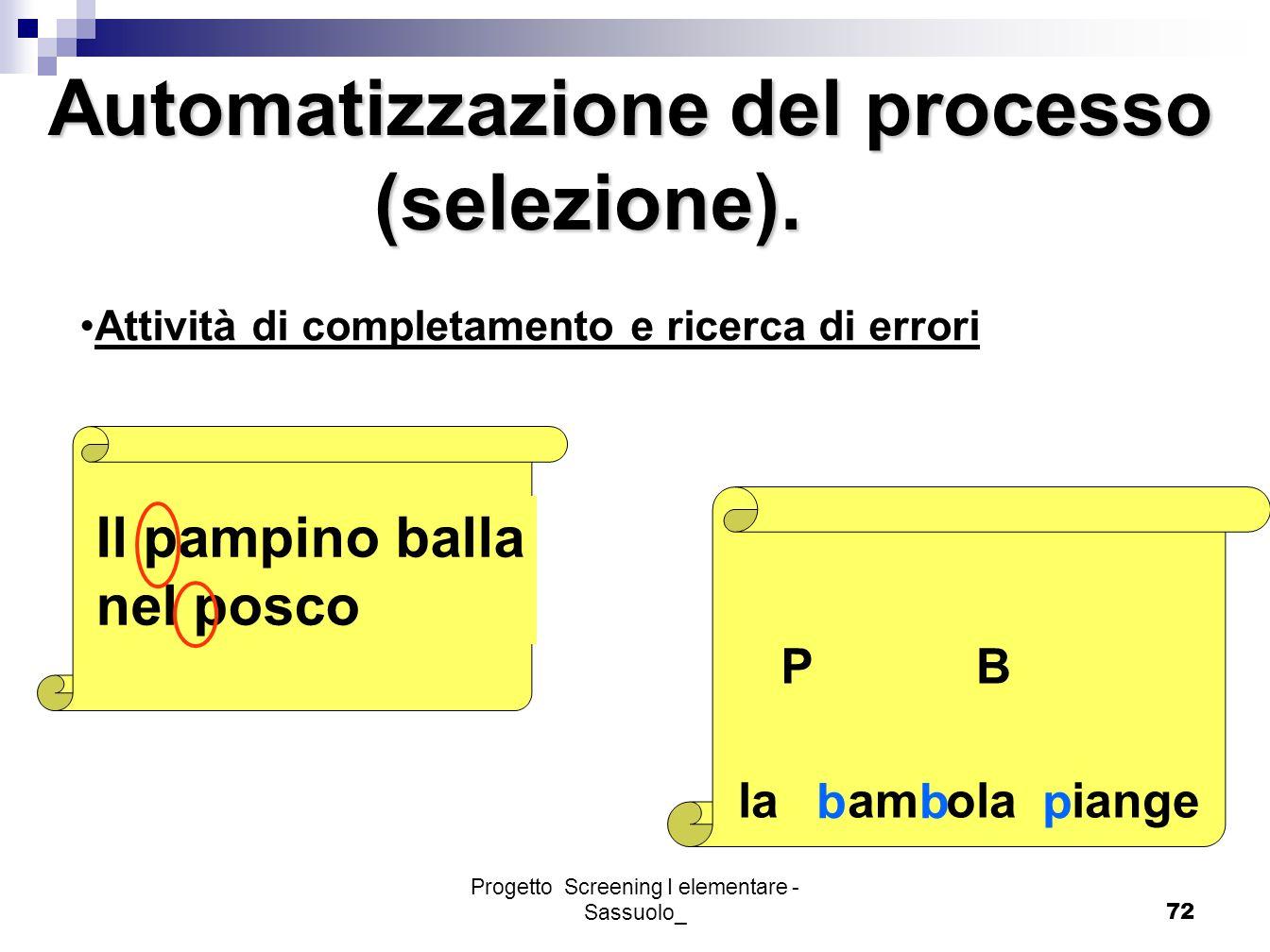 Progetto Screening I elementare - Sassuolo_72 Attività di completamento e ricerca di errori Il pampino balla nel posco PB la am ola iange bbp Automati