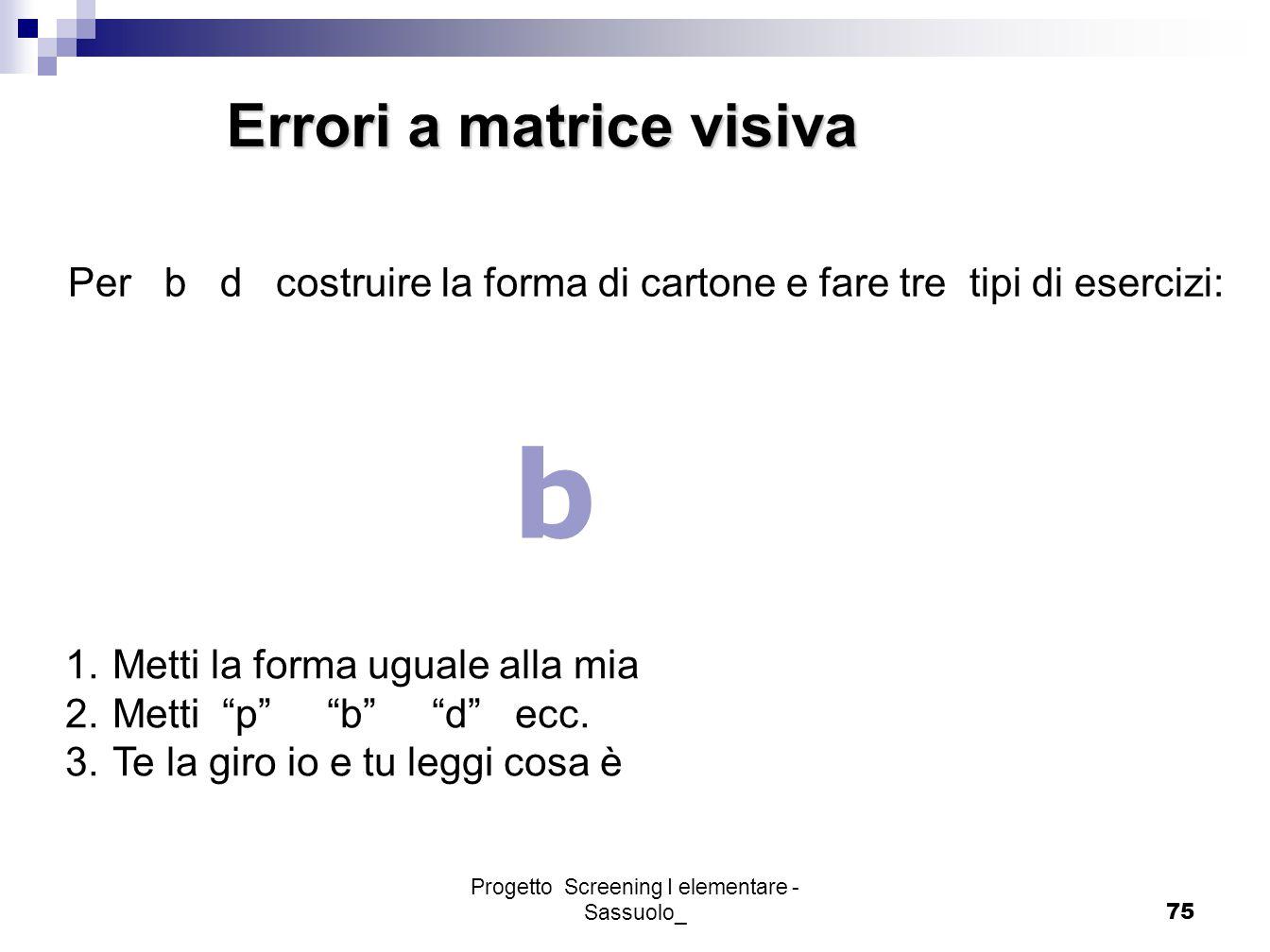 Progetto Screening I elementare - Sassuolo_75 Errori a matrice visiva Per b d costruire la forma di cartone e fare tre tipi di esercizi: b 1.Metti la