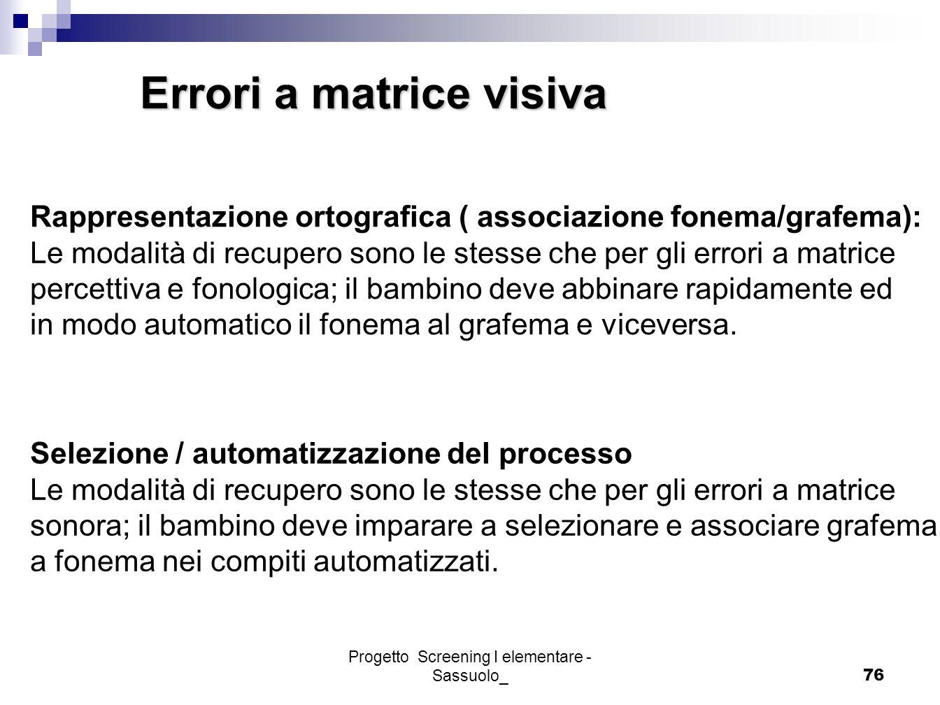 Progetto Screening I elementare - Sassuolo_76 Errori a matrice visiva Rappresentazione ortografica ( associazione fonema/grafema): Le modalità di recu
