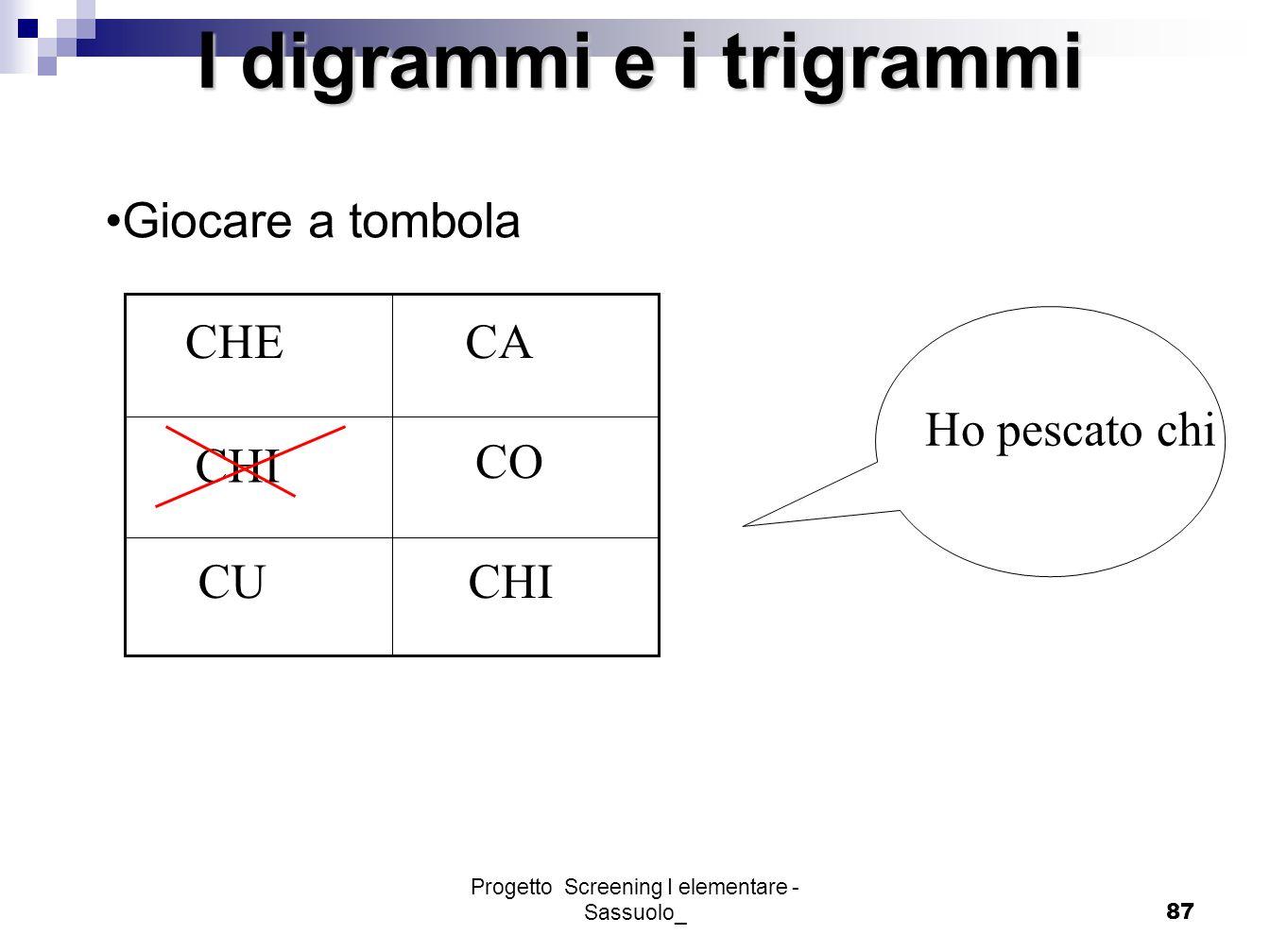 Progetto Screening I elementare - Sassuolo_87 CA CHI CO CUCHI CHE Ho pescato chi Giocare a tombola I digrammi e i trigrammi