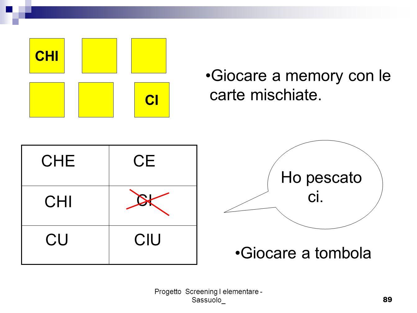 Progetto Screening I elementare - Sassuolo_89 CI CHI Giocare a memory con le carte mischiate. CE CHI CI CUCIU CHE Ho pescato ci. Giocare a tombola