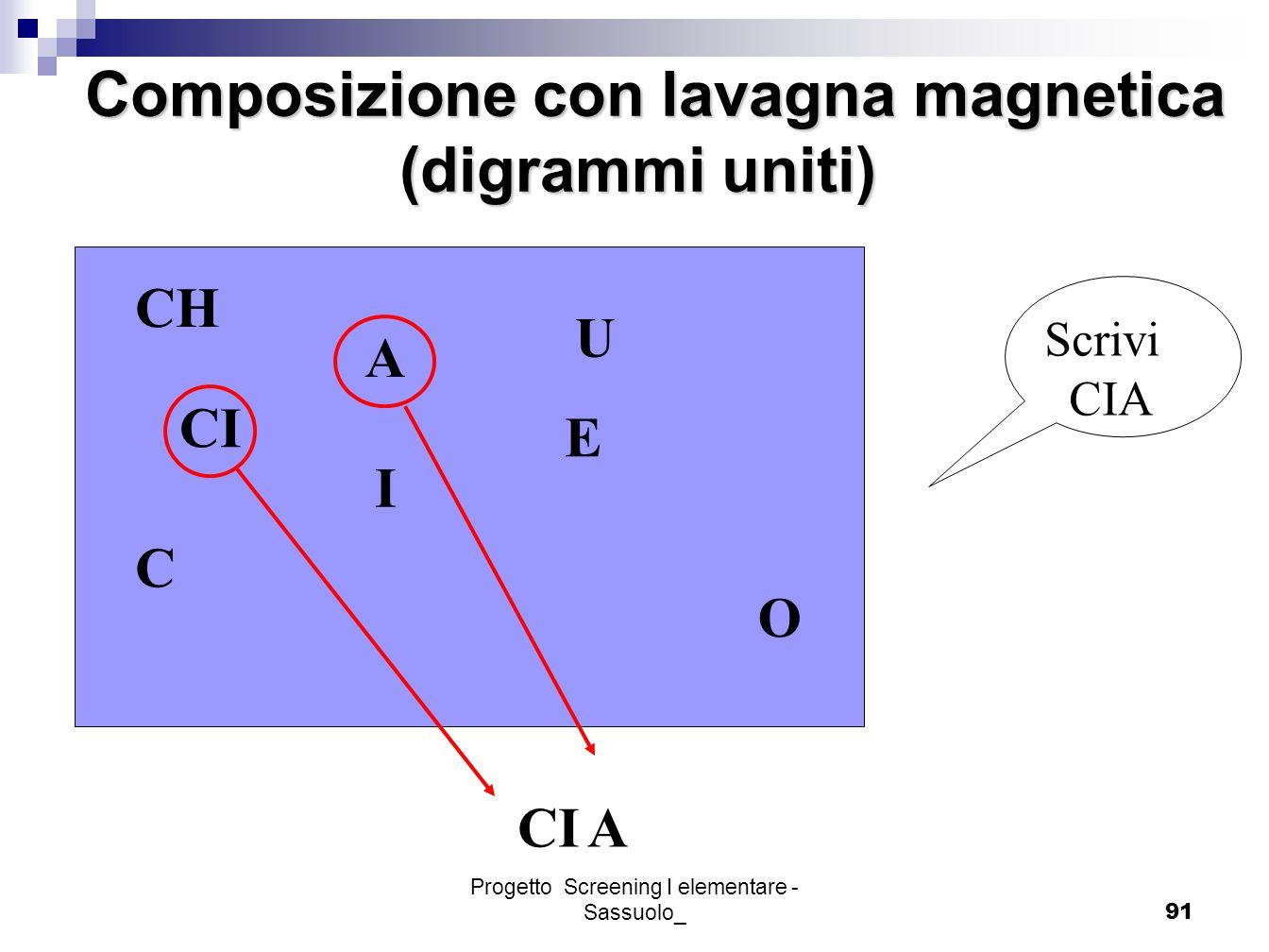 Progetto Screening I elementare - Sassuolo_91 CH CI C A I O U E Scrivi CIA CIA Composizione con lavagna magnetica (digrammi uniti) (digrammi uniti)