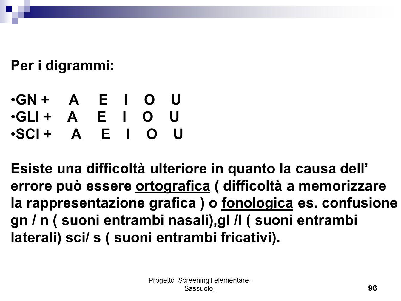 Progetto Screening I elementare - Sassuolo_96 Per i digrammi: GN + A E I O U GLI + A E I O U SCI + A E I O U Esiste una difficoltà ulteriore in quanto