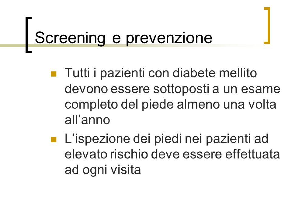 Screening e prevenzione Tutti i pazienti con diabete mellito devono essere sottoposti a un esame completo del piede almeno una volta allanno Lispezion