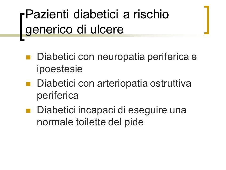 Pazienti diabetici a rischio generico di ulcere Diabetici con neuropatia periferica e ipoestesie Diabetici con arteriopatia ostruttiva periferica Diab