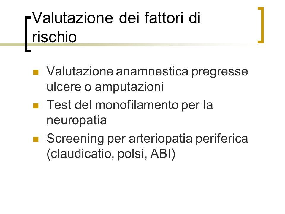 Valutazione dei fattori di rischio Valutazione anamnestica pregresse ulcere o amputazioni Test del monofilamento per la neuropatia Screening per arter