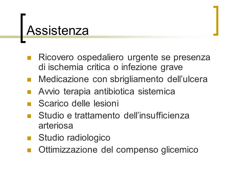Assistenza Ricovero ospedaliero urgente se presenza di ischemia critica o infezione grave Medicazione con sbrigliamento dellulcera Avvio terapia antib