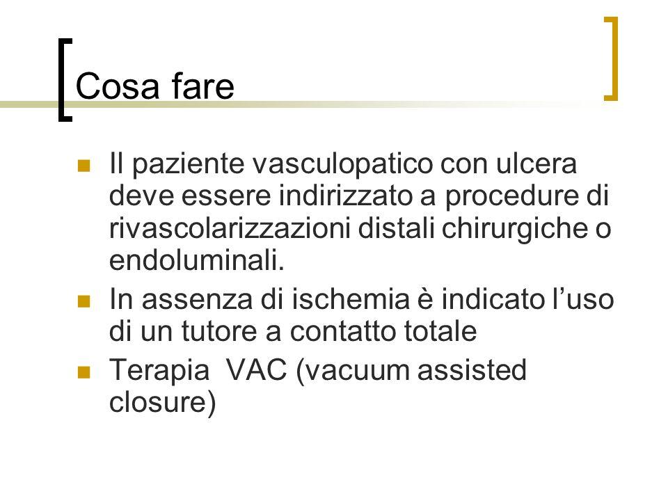 Cosa fare Il paziente vasculopatico con ulcera deve essere indirizzato a procedure di rivascolarizzazioni distali chirurgiche o endoluminali. In assen