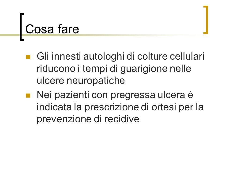 Cosa fare Gli innesti autologhi di colture cellulari riducono i tempi di guarigione nelle ulcere neuropatiche Nei pazienti con pregressa ulcera è indi