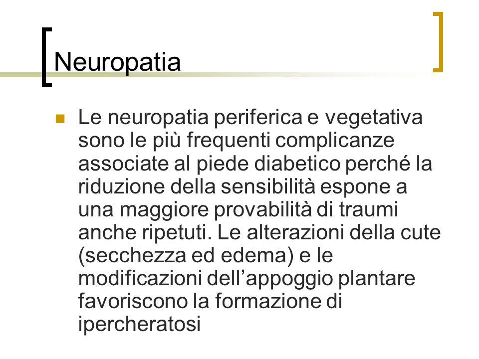 Neuropatia Le neuropatia periferica e vegetativa sono le più frequenti complicanze associate al piede diabetico perché la riduzione della sensibilità