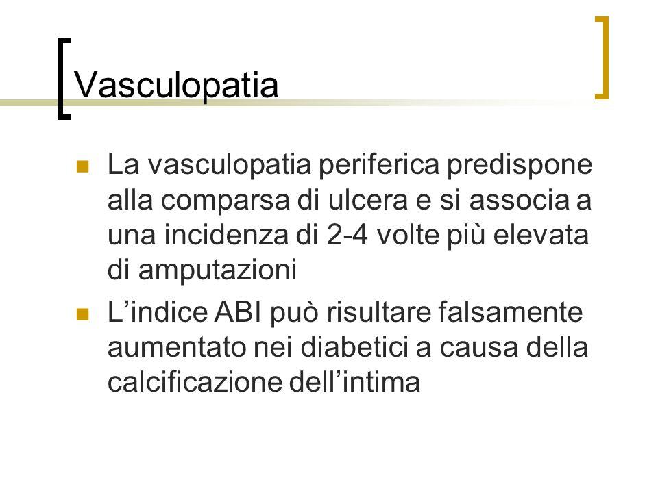 Vasculopatia La vasculopatia periferica predispone alla comparsa di ulcera e si associa a una incidenza di 2-4 volte più elevata di amputazioni Lindic