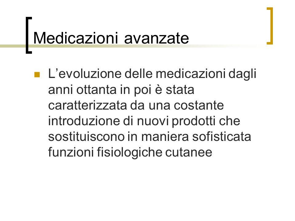 Medicazioni avanzate Levoluzione delle medicazioni dagli anni ottanta in poi è stata caratterizzata da una costante introduzione di nuovi prodotti che