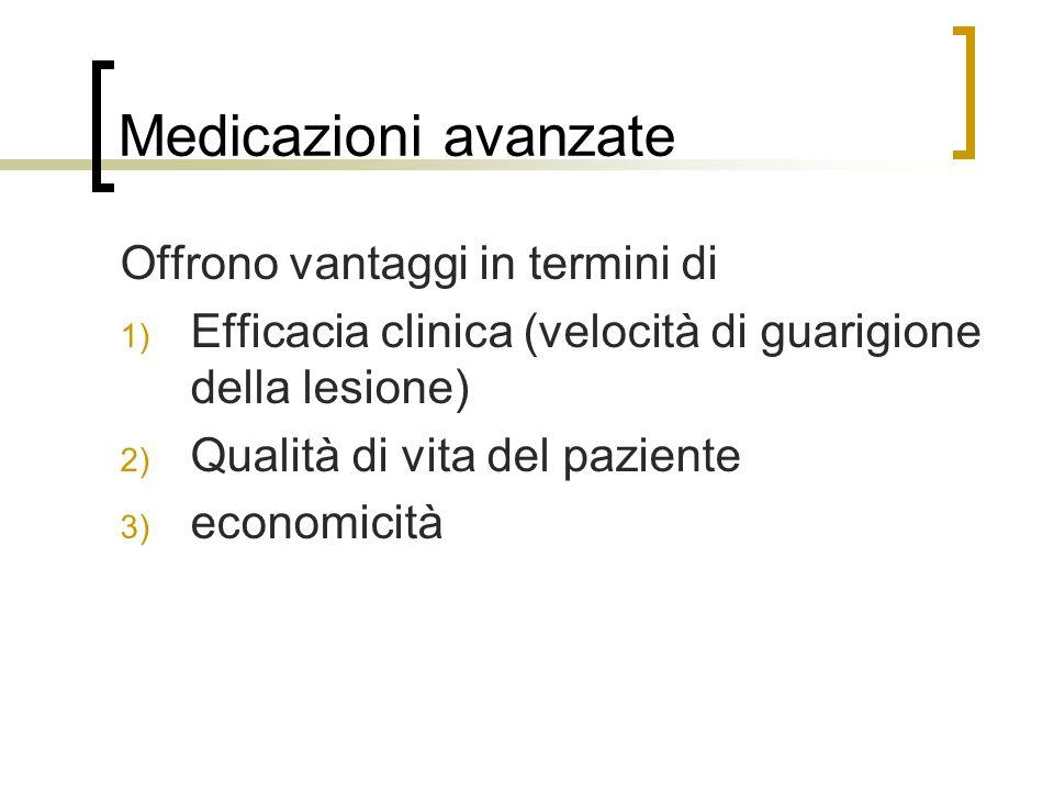 Medicazioni avanzate Offrono vantaggi in termini di 1) Efficacia clinica (velocità di guarigione della lesione) 2) Qualità di vita del paziente 3) eco