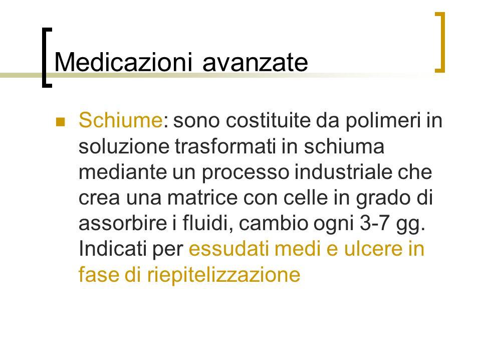 Medicazioni avanzate Schiume: sono costituite da polimeri in soluzione trasformati in schiuma mediante un processo industriale che crea una matrice co