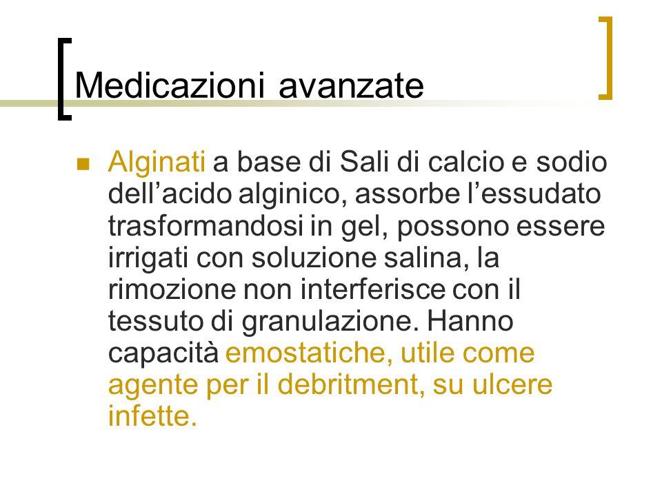 Medicazioni avanzate Alginati a base di Sali di calcio e sodio dellacido alginico, assorbe lessudato trasformandosi in gel, possono essere irrigati co
