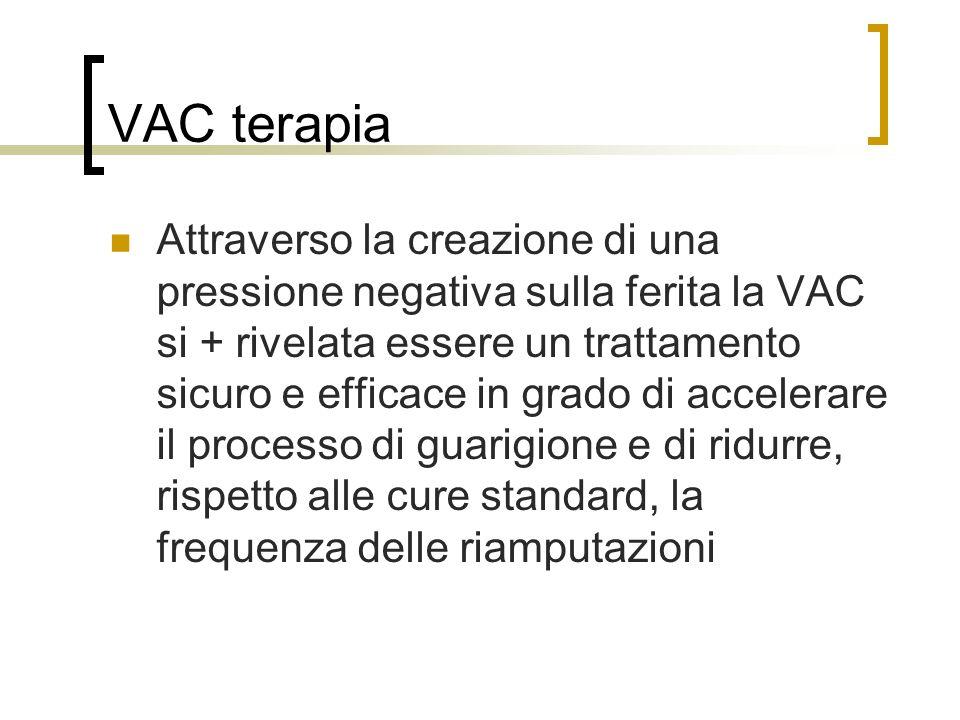 VAC terapia Attraverso la creazione di una pressione negativa sulla ferita la VAC si + rivelata essere un trattamento sicuro e efficace in grado di ac