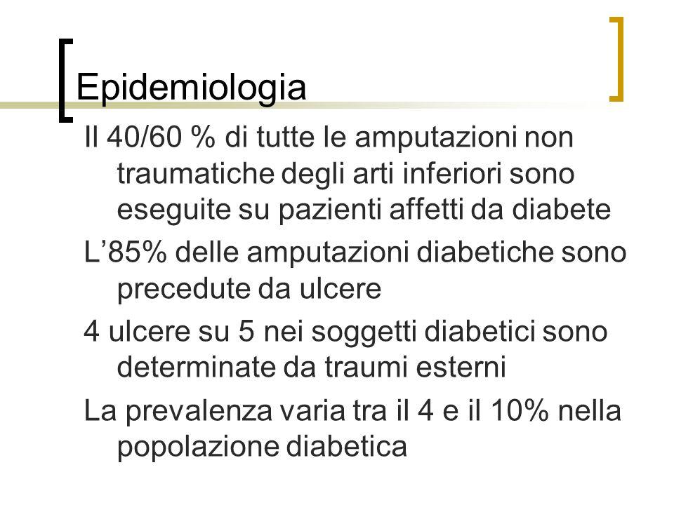Epidemiologia Il 40/60 % di tutte le amputazioni non traumatiche degli arti inferiori sono eseguite su pazienti affetti da diabete L85% delle amputazi