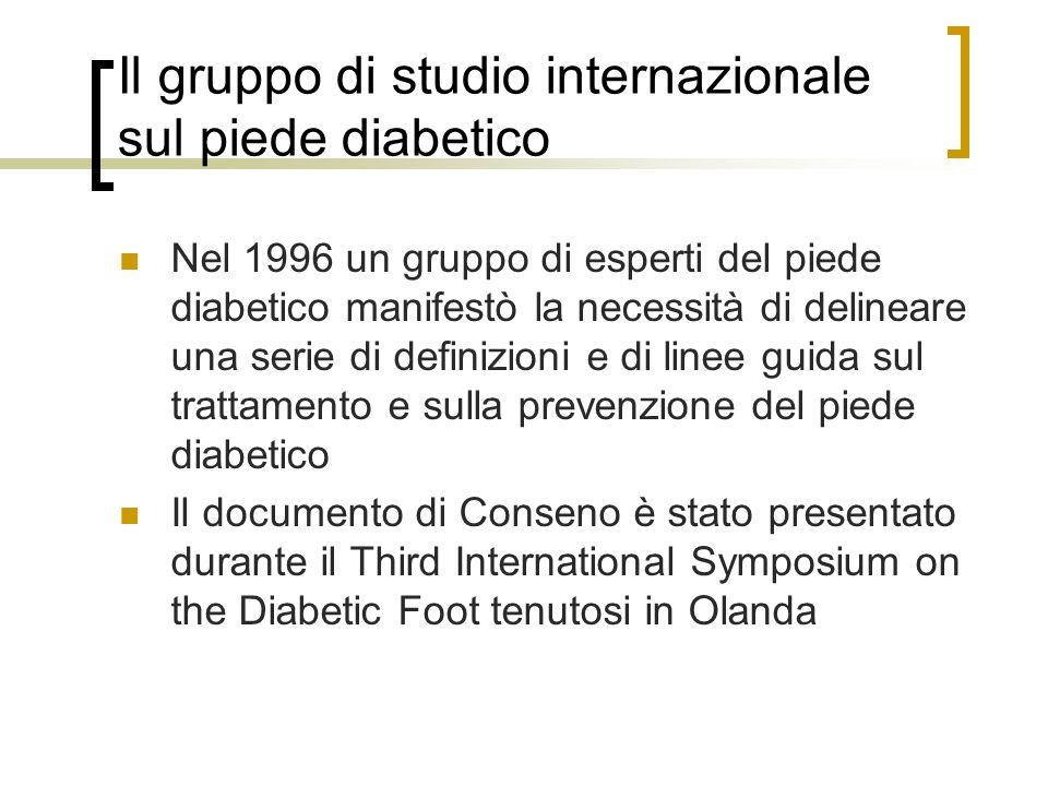 Il gruppo di studio internazionale sul piede diabetico Nel 1996 un gruppo di esperti del piede diabetico manifestò la necessità di delineare una serie