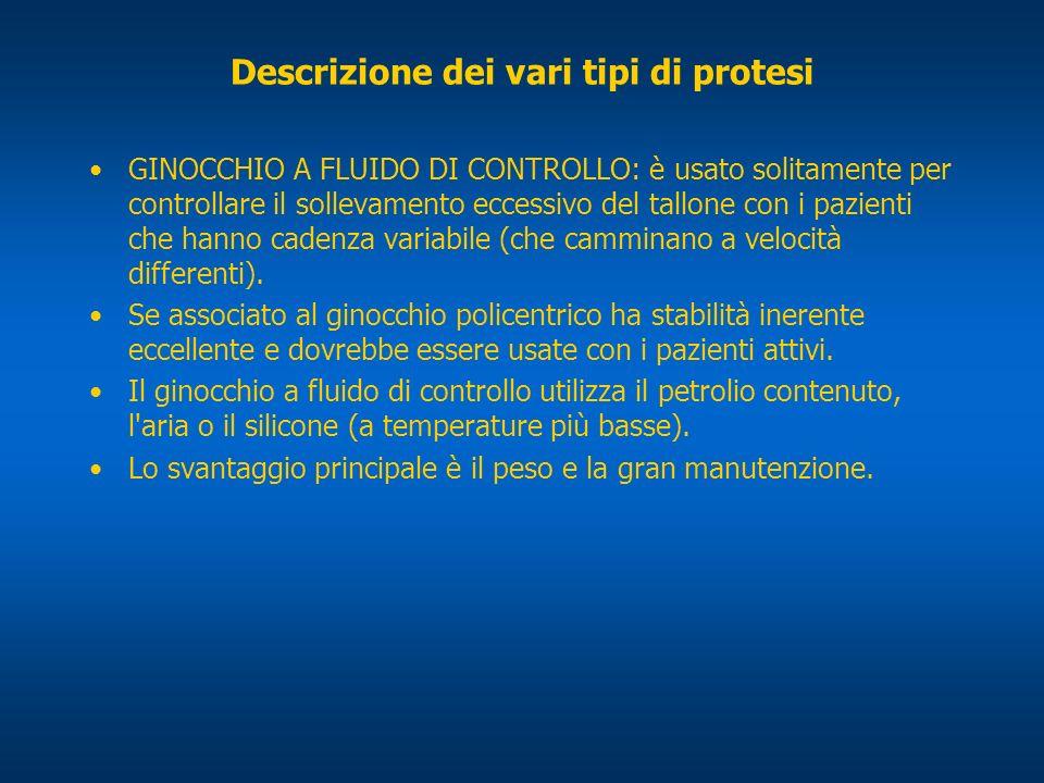 Descrizione dei vari tipi di protesi GINOCCHIO A FLUIDO DI CONTROLLO: è usato solitamente per controllare il sollevamento eccessivo del tallone con i