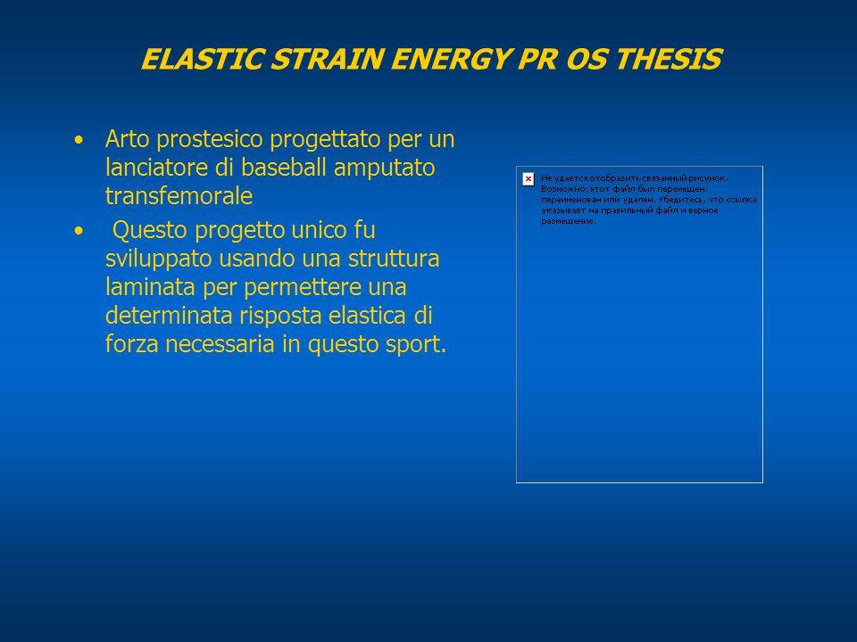 ELASTIC STRAIN ENERGY PR OS THESIS Arto prostesico progettato per un lanciatore di baseball amputato transfemorale Questo progetto unico fu sviluppato